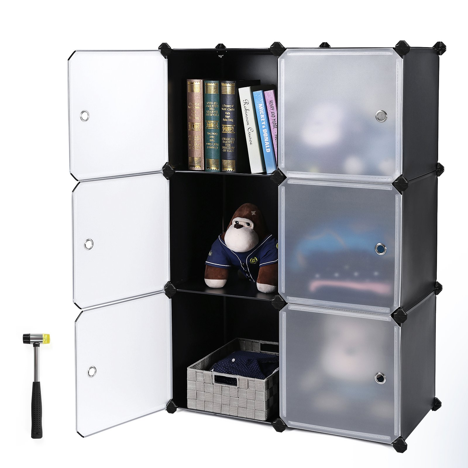 SONGMICS Storage Cube, Plastic Cube Organizer, DIY Modular Closet Cabinet,Bookcase with Doors for Bedroom, Living room, Office, Includes Rubber Mallet and anti-tipping device ULPC23H