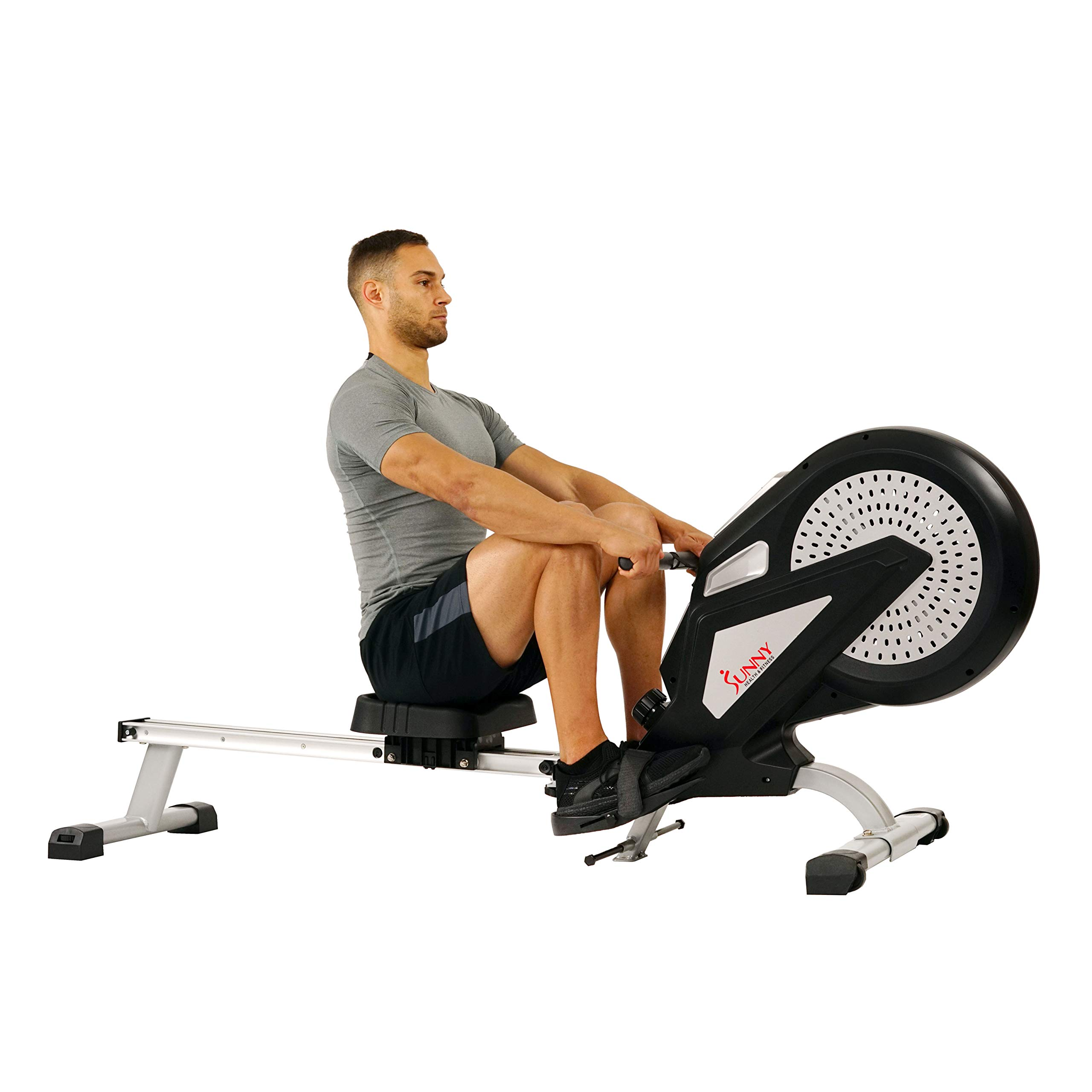 Sunny Health & Fitness Air Rower Rowing Machine w/ LCD Monitor, Dual Belt and Air Resistance SF-RW5623 by Sunny Health & Fitness (Image #4)