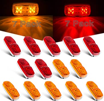 """5x 4/"""" Red 8LED Clearance Side Marker Light Indicator Lamp Truck Trailer Lorry RV"""