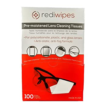 Large Pre-Moistened Lens Cleaning Wipes - Rediwipes For plastic, glass lenses, monitors