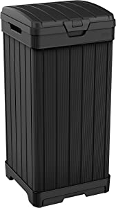 Keter Baltimore 38 Gallon Outdoor Trash Can with Lid and Drip Tray for Easy Cleaning, Black