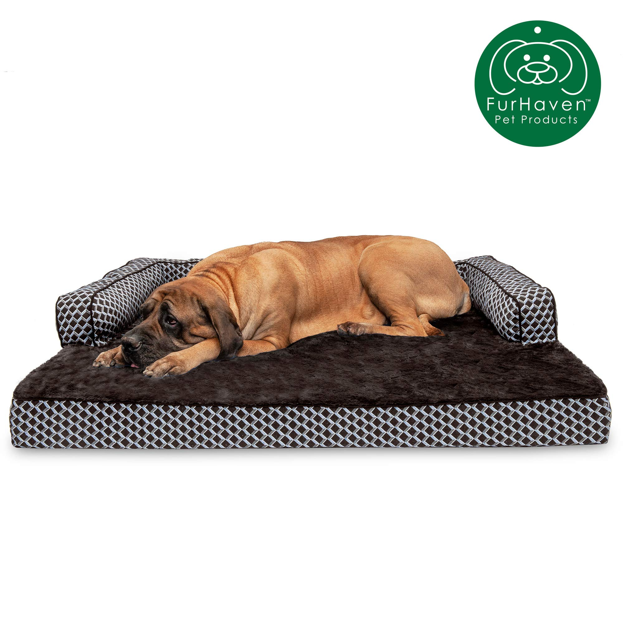 Furhaven Pet Dog Bed | Orthopedic Plush Faux Fur & Décor Comfy Couch Traditional Sofa-Style Living Room Couch Pet Bed w/Removable Cover for Dogs & Cats, Diamond Brown, Jumbo Plus by Furhaven