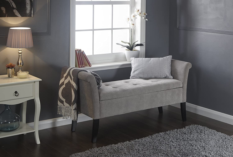 Balmoral Window Seat - Silver Chenille Fabric - Blanket Box Storage Ottoman GFW