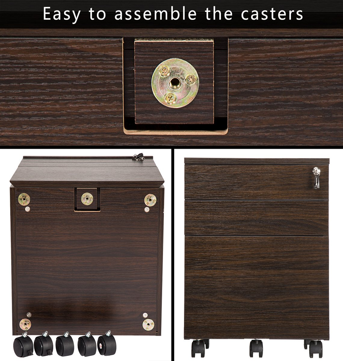 TOPSKY 3 Drawer Wood Mobile File Cabinet Fully Assembled Except Casters (WALNUT) by TOPSKY (Image #6)
