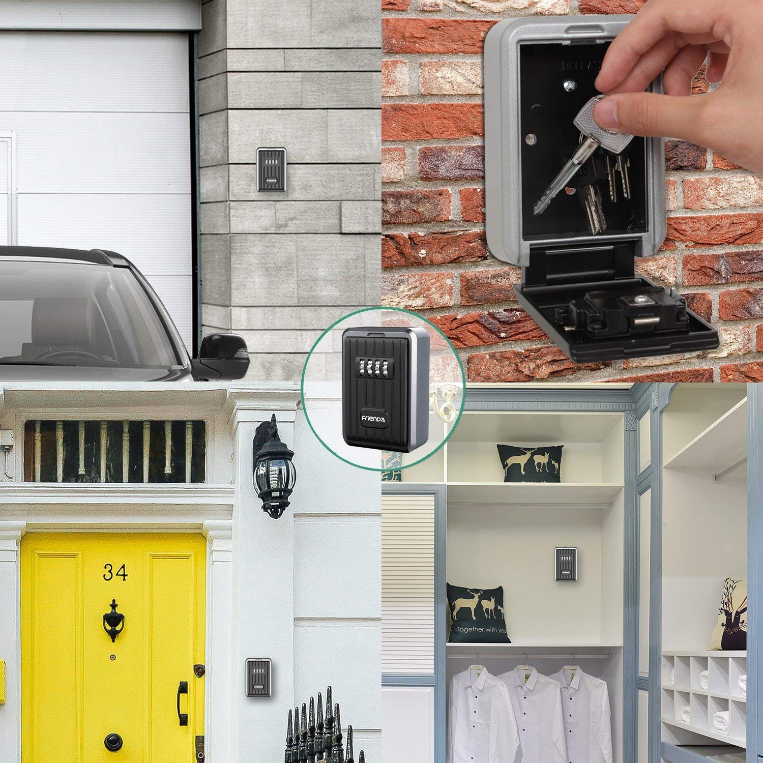 Hide Key Safe Lock Box ZHIQII Wall Mount Push Button Lock Stores up to 6 Keys on doorknob 4 Digit Combination Exterior Outdoor Waterproof Secure Box Keys Holder for Home/House use Key Storage Lockbox by ZHIQII (Image #6)
