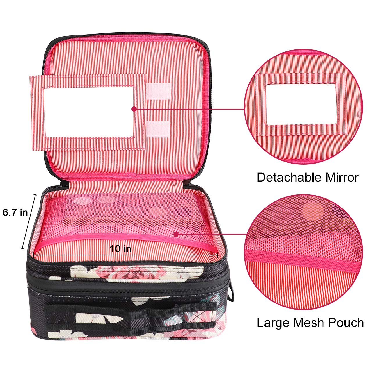 Travel Makeup Bag 2 Layer Portable Train Cosmetic Case Organizer with Mirror