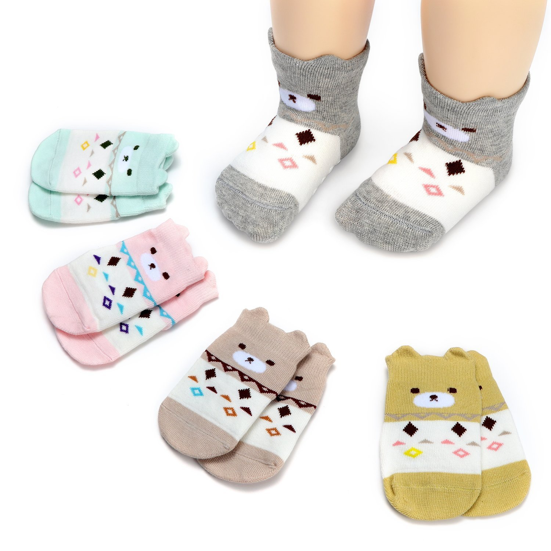 Lamamamas 5 Pairs Cartoon Animals Bear Fox Non Skid Anti Slip Cotton Baby Socks (Bear, 12-24months)