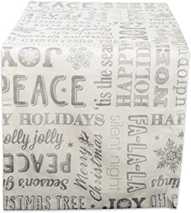 """DII 100% Cotton, Machine Washable, Printed Metallic Table Runner For Parties, Christmas & Holidays - 14x72"""", Sliver Christmas Collage"""