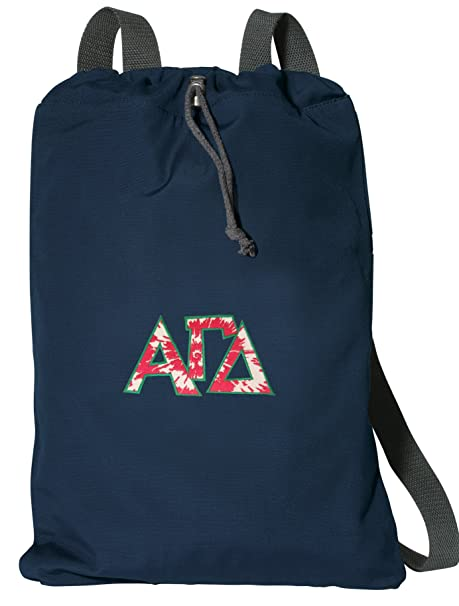 Image Unavailable. Image not available for. Color  Broad Bay Alpha Gamma  Delta Drawstring Backpack Rich Cotton AGD Sorority Cinch Bag c2d3f43513