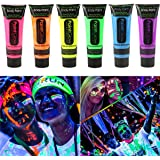 Smartcraft Face Colour Paint (Pack of 6),UV Blacklight Reactive Glow Face and Body Paint, Set of 6 Tubes Neon Fluorescent, 25 ml each tube