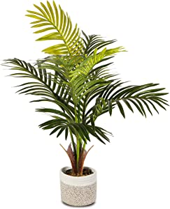 """Elpidan- Artificial Areca Palm Tree Plant Decor 28"""", Fake Palm Tree Plants, Silk Faux House Plants Indoor Tree, Fake Plant 
