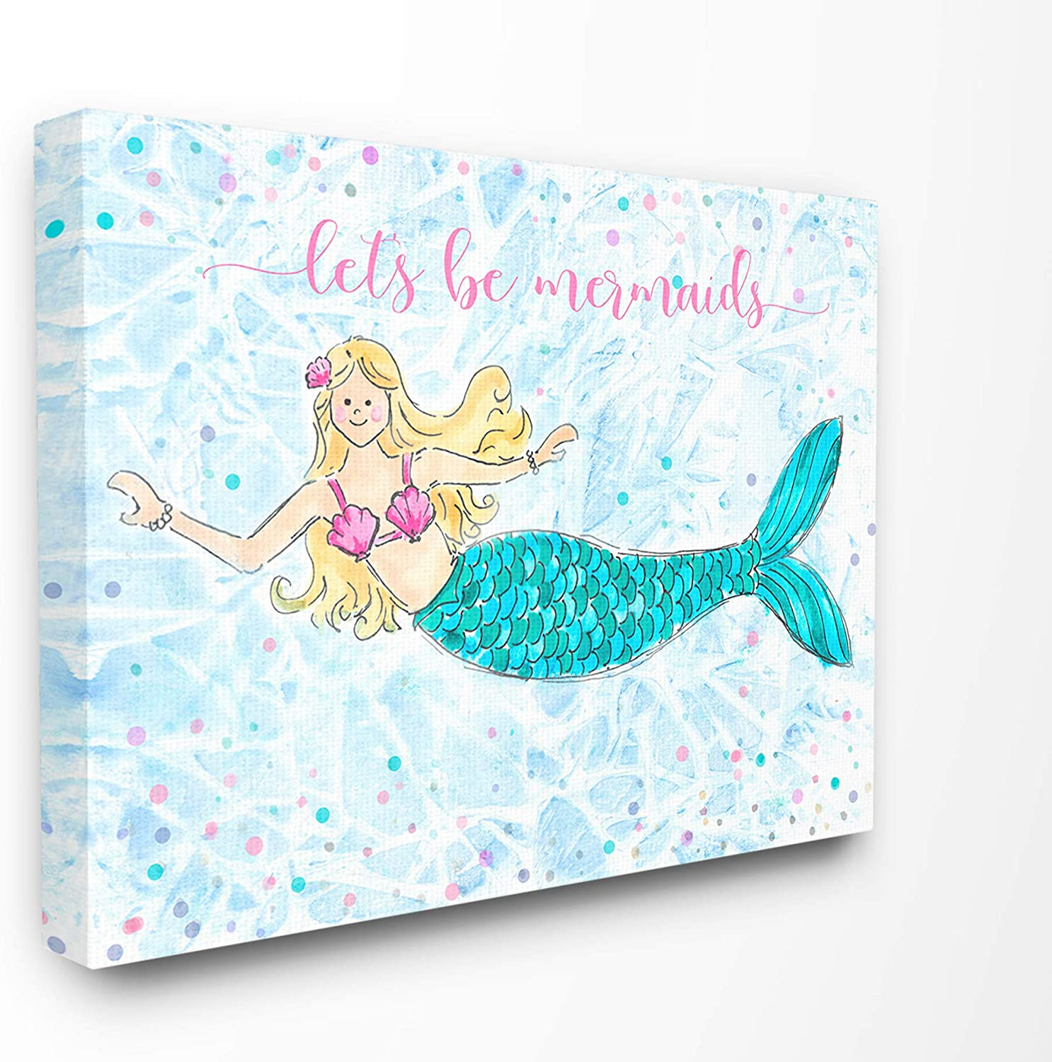 The Kids Room By Stupell Lets Be Mermaids Blue and Pink Swimming Mermaid Canvas Wall Art, 16 x 20, Proudly Made in USA