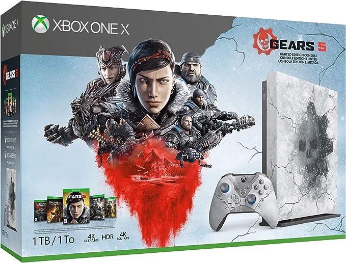 Microsoft Xbox One X 2 TB SSD Enhanced Gears 5 edición limitada Arctic Blue Console, Gears 5 Ultimate Edition con Gears of War Complete Games Collection, 1 mes Xbox Live Gold y