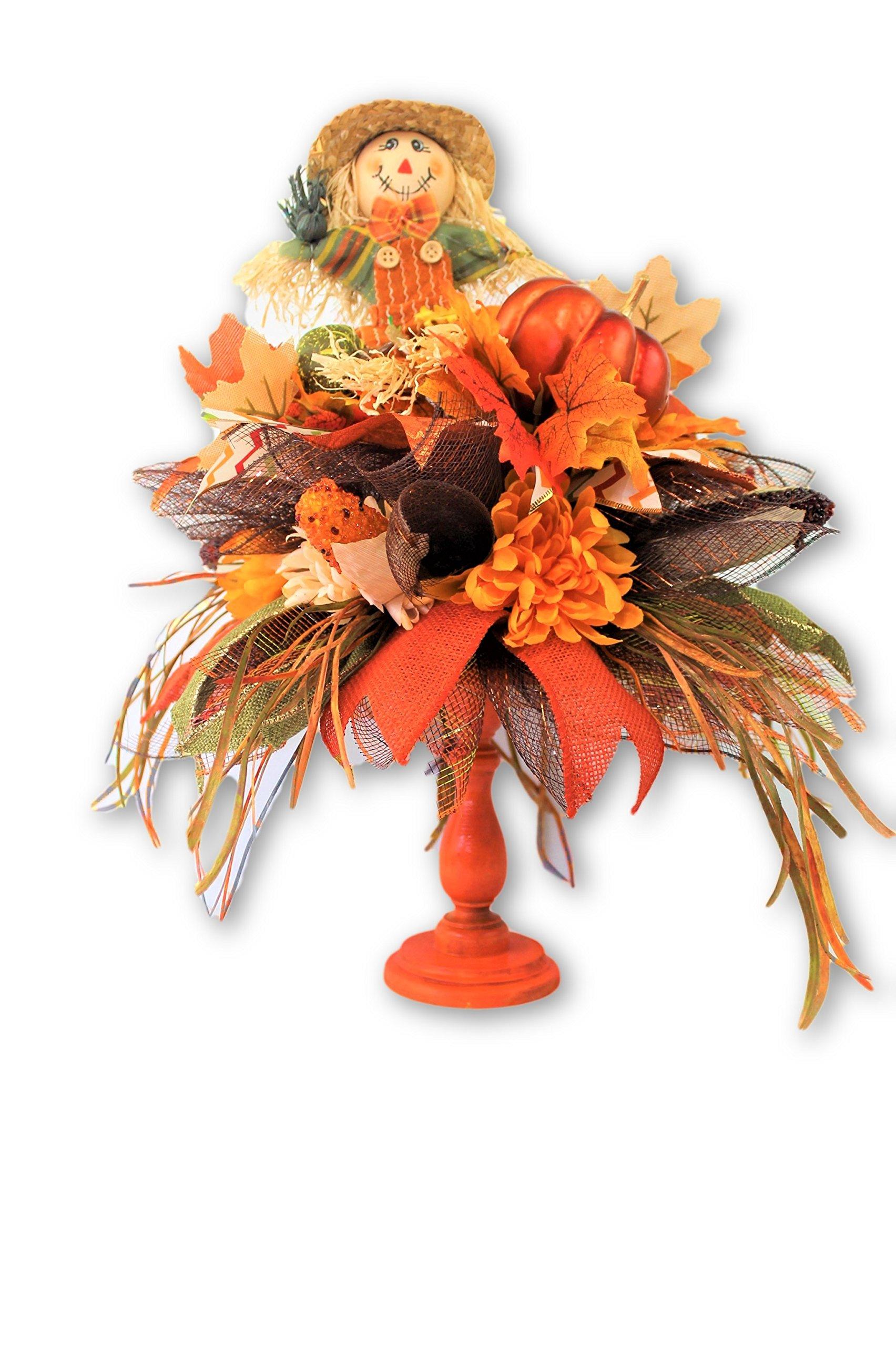 Scarecrow Harvest Pedestal Silk Flower Floral Arrangement