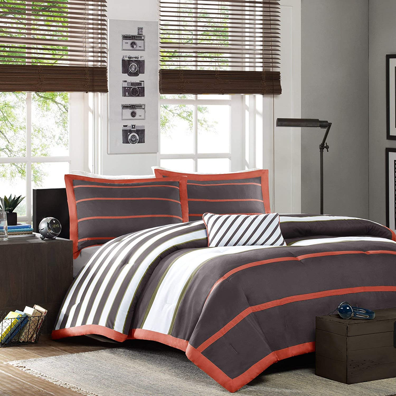 Mi-Zone Ashton Full/Queen Kids Bedding Sets for Boys - Orange, Grey, Stripes – 4 Pieces Boy Comforter Set – Ultra Soft Microfiber Kid Childrens Bedroom Comforters