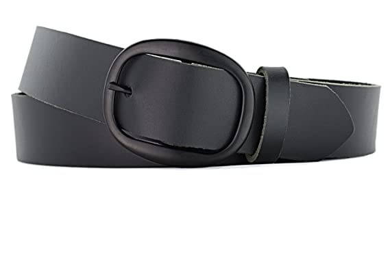 6e31dbc1ad1 Naleeni Womens Black Leather Belt with Black Oval Buckle 1.5 inch wide.  Handmade in the