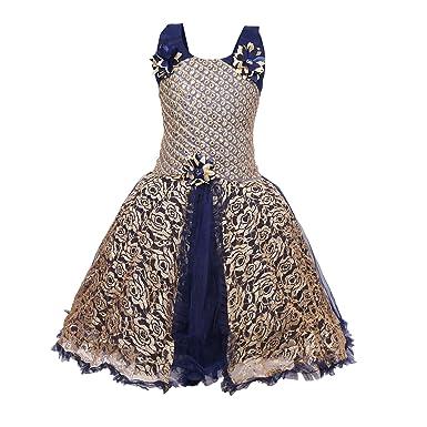 0c1076f6ad72 KBKIDSWEAR Girl s Net Fabric Party wear Frock Dress Navy-Blue ...