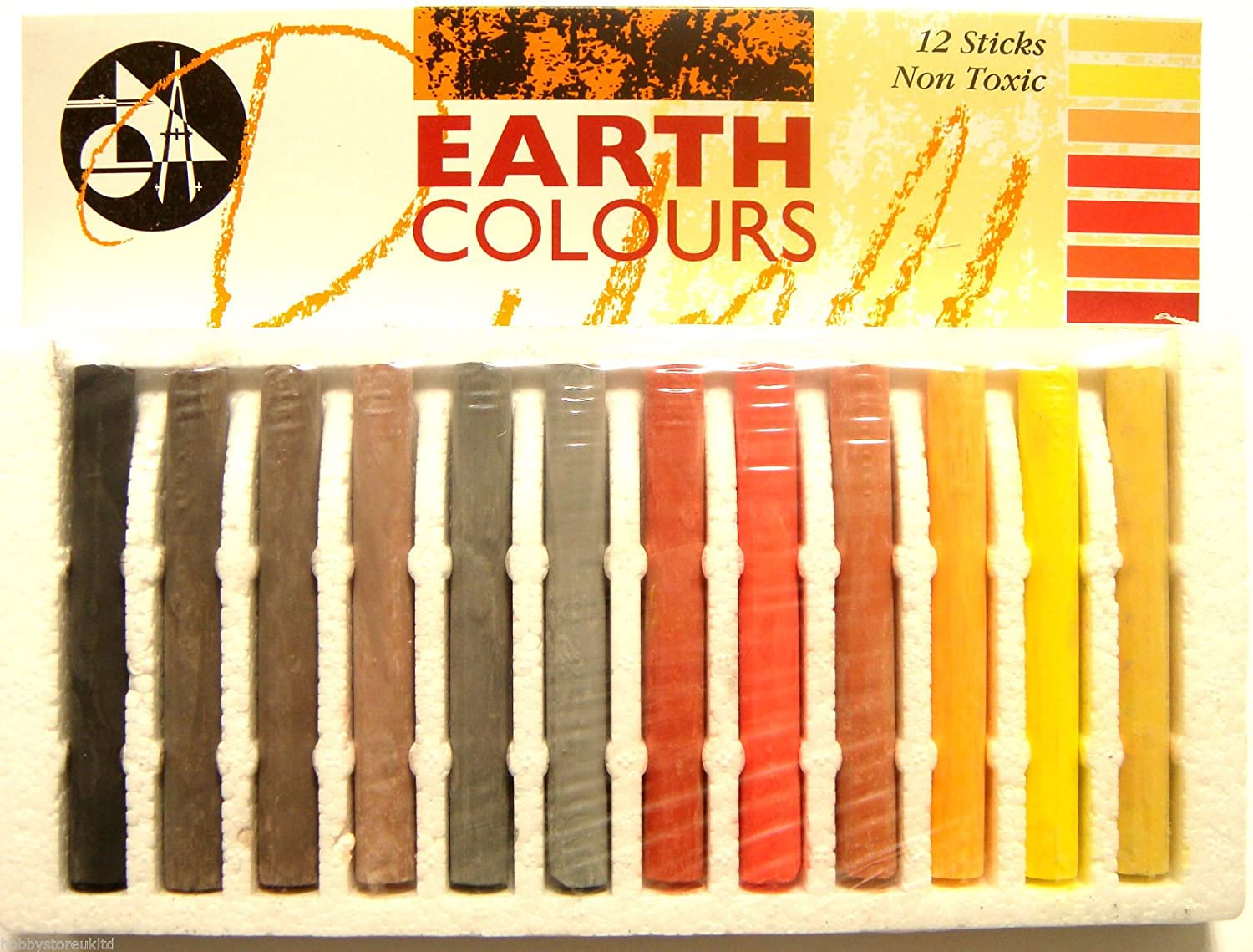 Compressed Charcoal Set Compressed Coloured Pastel Sticks Sets Non Toxic New (Earth) Jakar