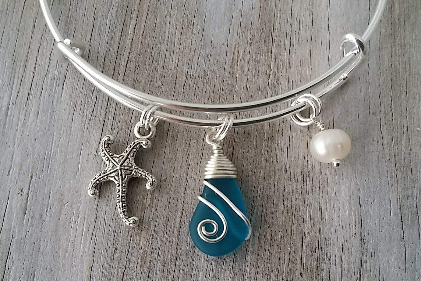 1adae0902865e Handmade in Hawaii, wire wrapped teal blue sea glass bracelet, starfish  charm, (Hawaii Gift Wrapped, Customizable Gift Message)