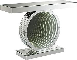 Coaster Home Furnishings Rectangular Circular Base Clear Mirror Console Table, Silver