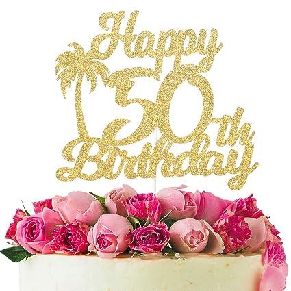 Decoración para tarta de 50 cumpleaños con purpurina dorada ...