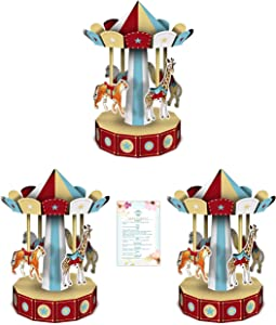 """Three 10"""" 3-D Vintage Circus Carousel Centerpieces (with Party Planning Checklist)"""