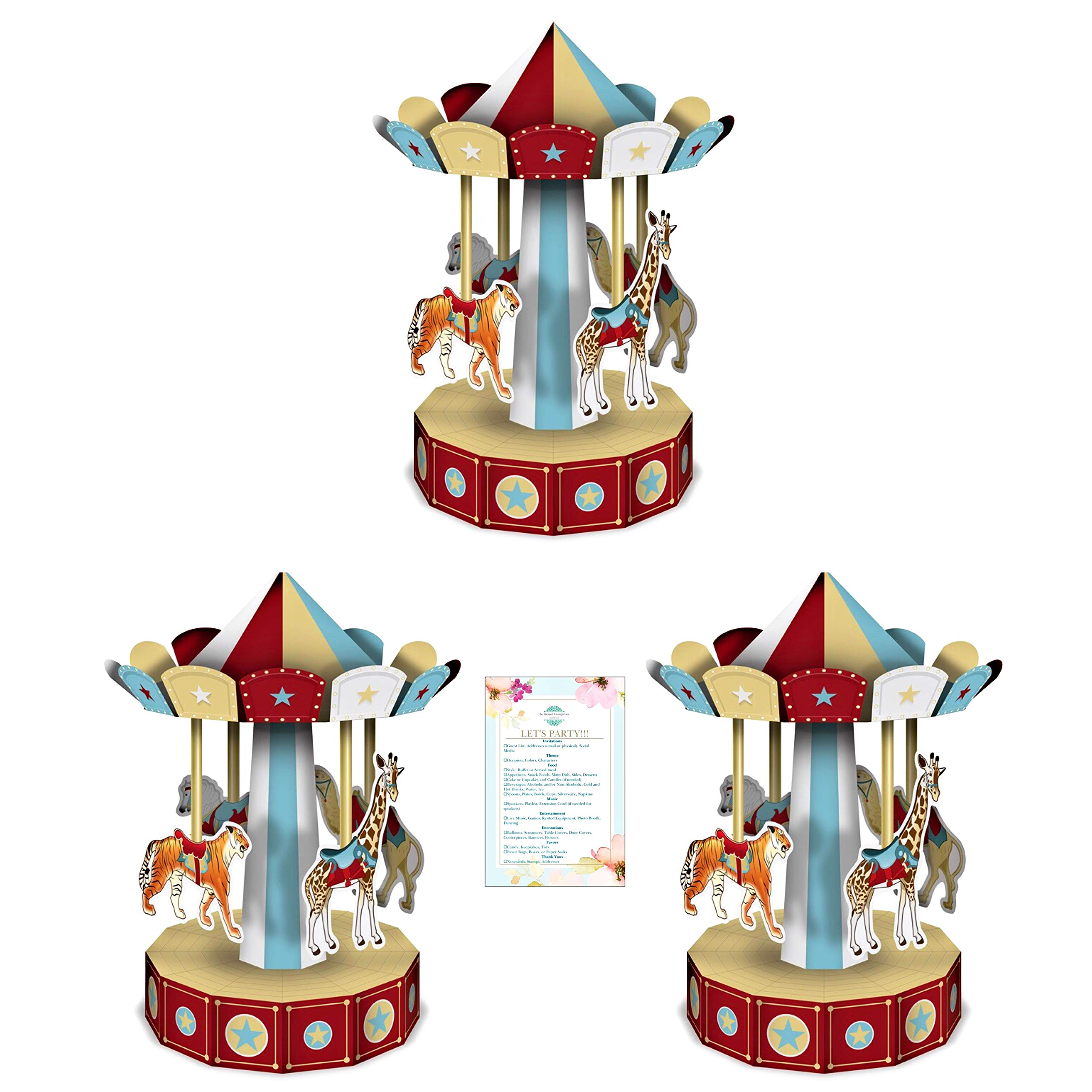 Three 10'' 3-D Vintage Circus Carousel Centerpieces (with Party Planning Checklist) by BesitleCo