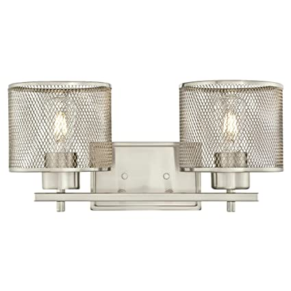 Westinghouse 6327700 morrison indoor wall fixture brushed nickel finish with mesh shades two light