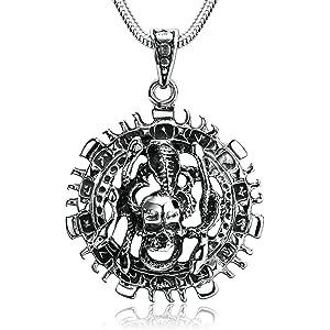 Anyeda Bijoux Collier Homme Chaîne De Collier Argent Noir Collier Pendentif  Chaîne Pendentif Serpent pour Disque 4b8c93b0066c