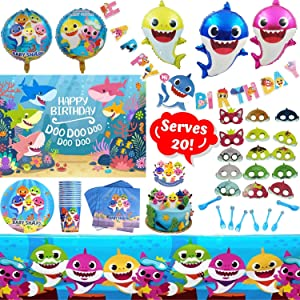 Shark Party Supplies Set - 124 Piece Shark Themed Birthday Decorations | Includes Disposable/Reusable Tableware Kit, 3' x 5' Photo Backdrop, Happy Birthday Banner, Shark Party Headbands and Balloons | Serves 20 Guests