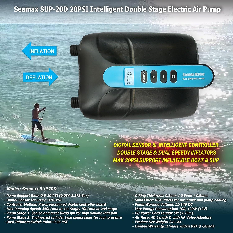 SUP y tabla de pala 12 V r/ápida para llegar a alta presi/ón SEAMAX Bomba de aire el/éctrica de doble fase digital de 20 PSI dise/ñada para barco hinchable