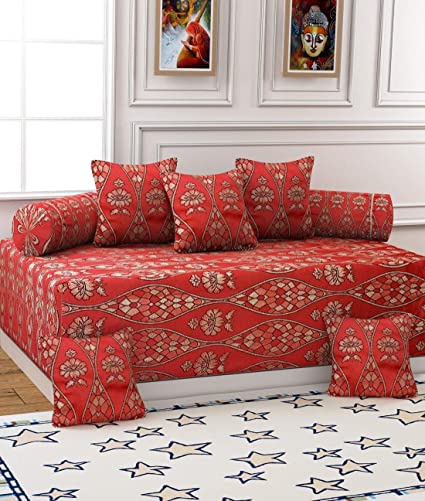 Gurnoor Diwan-e-khas Polycotton and Silk 8 Piece Diwan Set, 650 TC, Red and Gold