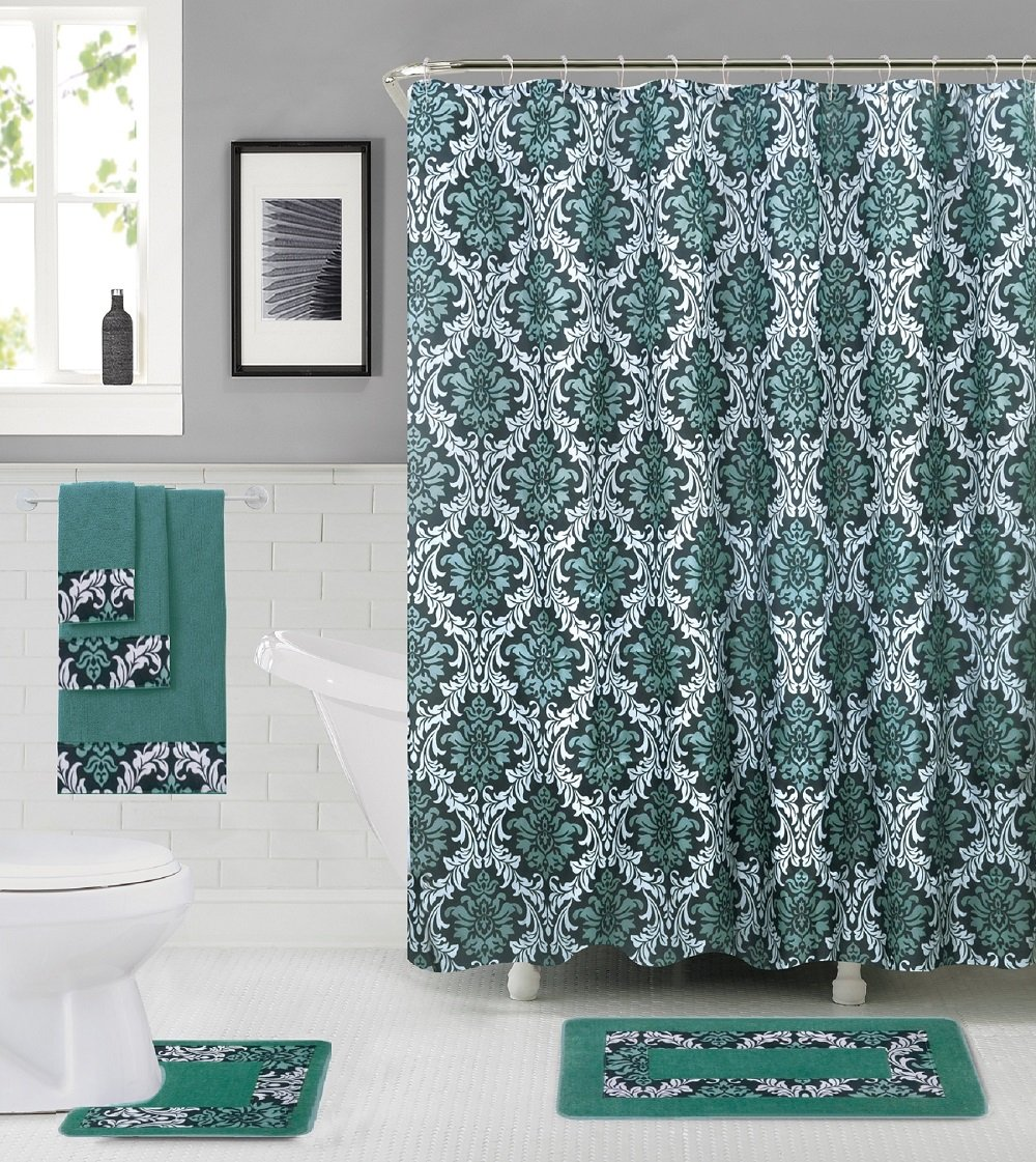 18 Piece High Quality Floral Designs Banded Shower Curtain Bath Set,1,Bath Rug,1 Contour Rug 1, shower curtain 12 Metal Crystal Roller Ball Shower Hooks 3 Pcs Matching towel set (Forest Green)