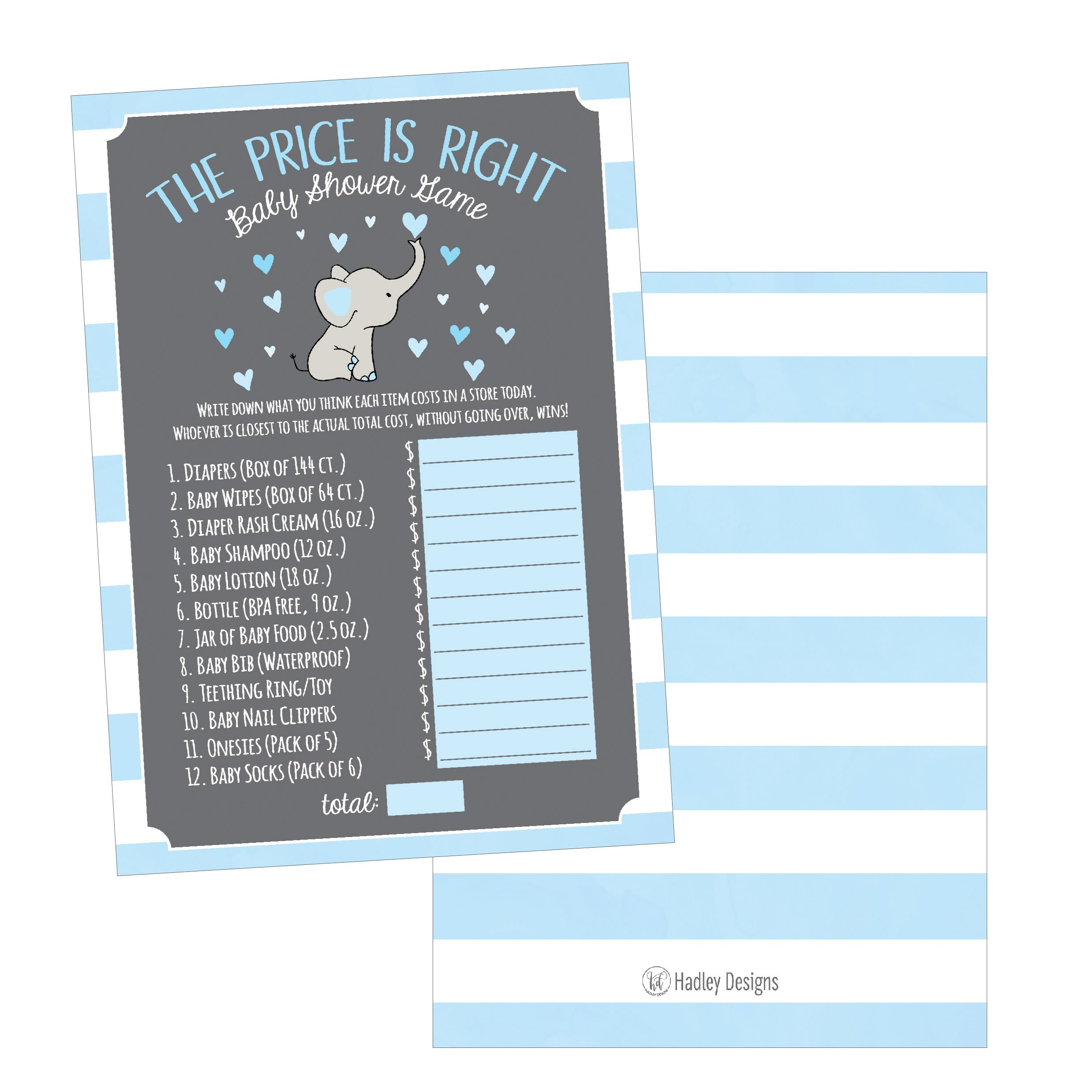 25 Blue Elephant Guess If The Price Is Right Baby Shower Game Ideas For Boys Girls Fun Party Activities Card Gender Neutral Reveal Guessing Funny Questions Bundle Pack For Couples Decorations Supplies