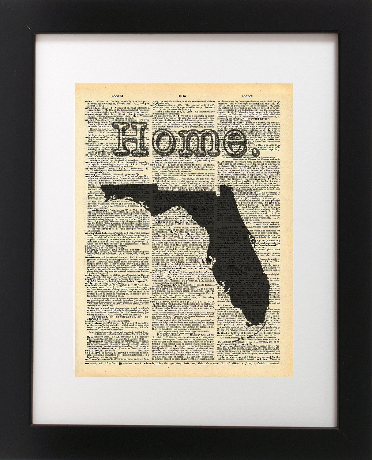 Florida State Vintage Map Dictionary Art Print 8x10 inch Home Vintage Art Abstract Prints Wall Art for Home Decor Wall Decorations For Living Room Bedroom Office Ready-to-Frame