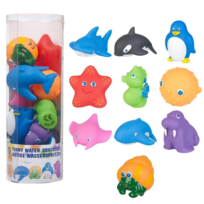 Kids Water Bath Squirties Animals Bathtime Squirter Rubber Fun Set in Tub Childs Edco 35319