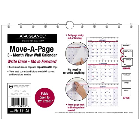 December 2017 To February 2019 Calendar Amazon.: AT A GLANCE PMLF1128 18 Three Month Wall Calendar