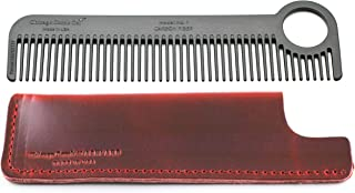 product image for Chicago Comb Model 1 Carbon Fiber Comb + Crimson Red Horween leather sheath, Made in USA, ultimate pocket and travel comb, ultra smooth strong & light, anti-static, premium American leather sheath