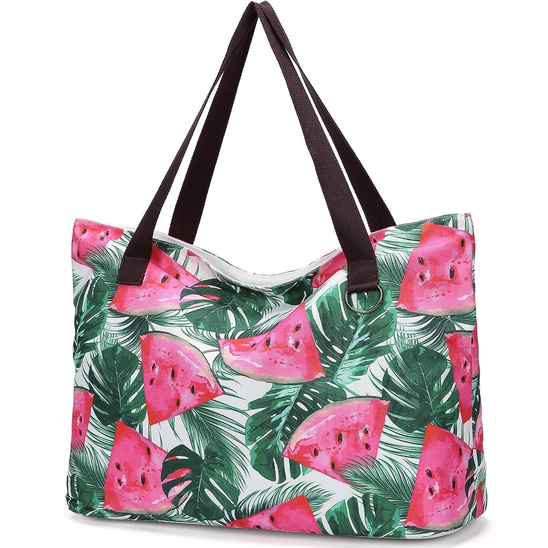 JANSBEN stor strandväska med dragkedja badpåse XXL Shopper axelväska Beach Bag fur dam herr vattenmelon