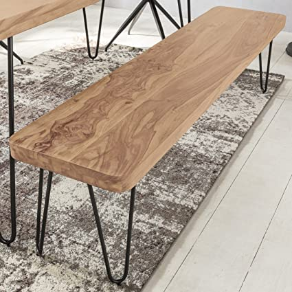 FineBuy asiento del banco de madera maciza de acacia x 160 x 40 cm ...