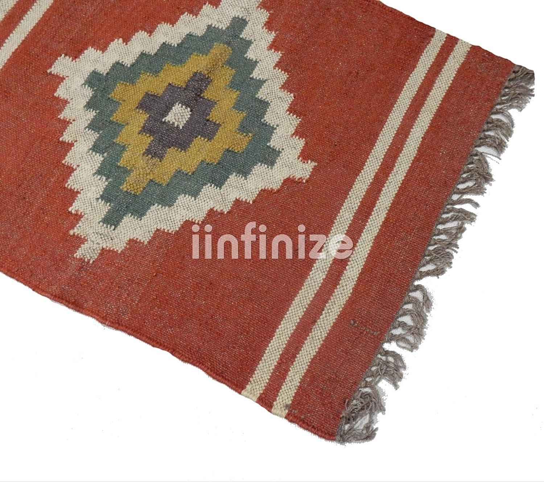 Amazon.com : iinfinize - 2x3 Wool Jute Rug Handwoven Kilim ...