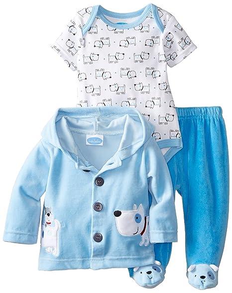 cafcaeba0b9 Amazon.com: BON BEBE Baby Boys' Puppys Velour Jacket and Pant Set with  Bodysuit: Clothing