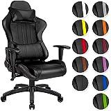 TecTake Chaise fauteuil siège de bureau racing sport ergonomique avec support lombaire et coussin - diverses couleurs au choix - (Noir Noir | No. 402229)