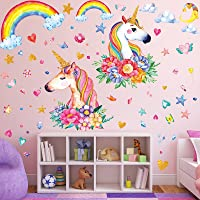 3 Sheets Unicorn Wall Decal Stickers Large Size Princess Reflective with Heart Rainbow Wall Stickers for Girls Kids…