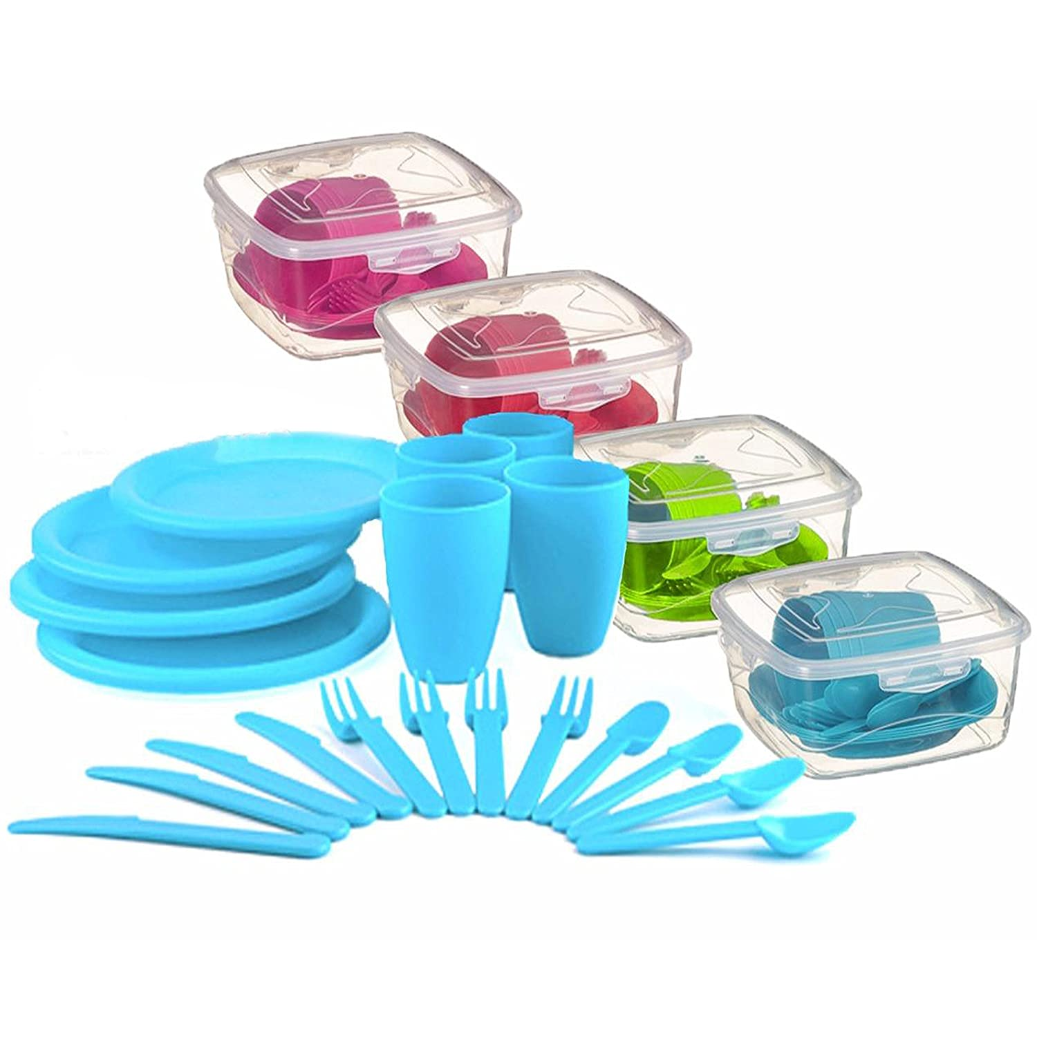 21 Piece Plastic Picnic Camping Party Dinner Plate Mug Cutlery Set Storage Box MTS