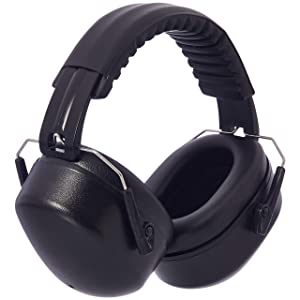AmazonBasics Noise Reduction Safety Earmuffs Ear Protection, Solid Black