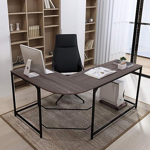 Teraves Reversible L-Shaped Desk Corner Gaming Computer Desk Office Workstation Modern Home Study Writing Wooden Table Large, BOAK