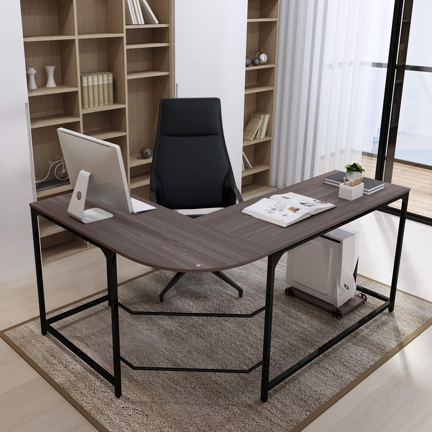Teraves Reversible L-Shaped Desk Corner Gaming Computer Desk Office Workstation Modern Home Study Writing Wooden Table by Teraves