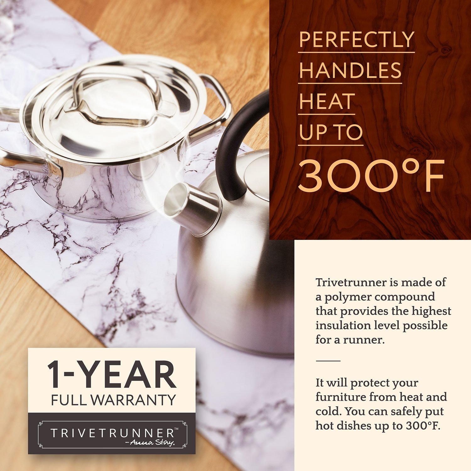 TRIVETRUNNER Decorative Trivet and Kitchen Table Runners Handles Heat Up to 300F, Anti Slip, Hand Washable, and Convenient for Hot Dishes and Pots,Hand Washable (White Marble) by TRIVETRUNNER (Image #2)