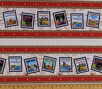 Cotton Quilt Across Texas US Postage Symbols Stamps Mail Cities 4 Parallel Stripes